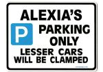 ALEXIA'S Personalised Parking Sign Gift | Unique Car Present for Her |  Size Large - Metal faced